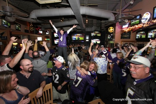 Roost #4 celebrates at Jilly's as the Ravens defeated the Denver Broncos 38-35 on Saturday, January 12th