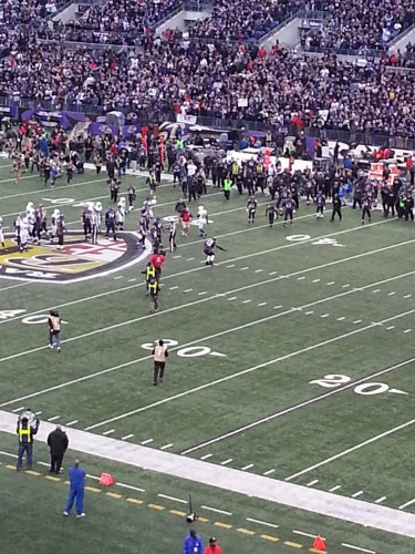 Ray Lewis celebrates the Ravens 24-9 playoff win over the Colts and his last play at the Bank in a Ravens uniform.