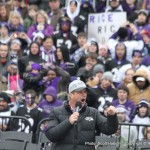 John Harbaugh stopped by before the start of the parade and gave a quick speech.