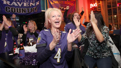 Kel cheers on the Ravens.  Photo Credit: Jen Rynda