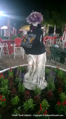 Every year the statue gets dressed in Ravens garb.