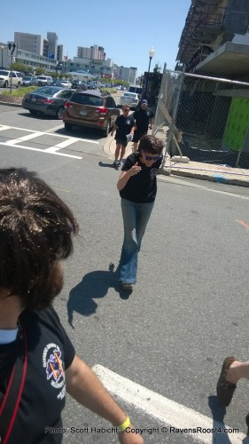 Kelli doing the Abbey Road Beatles thing when crossing the street.