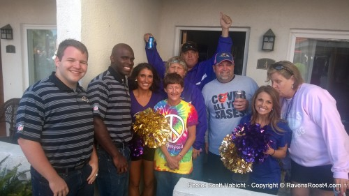 Some of the Ravens cheerleaders (men and women) stopped by to say hello.